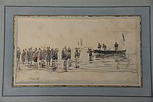 EUGENE BOUDIN (1824-1898)  Biarritz  watercolor and charcoal on paper  titled lower left Biarritz  initialed lower right E.B...