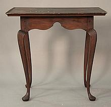 Queen Anne tea table having rectangular top with molded edges over carved skirt on cabriole legs ending in pad feet, 18th century (t...