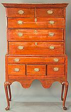 Queen Anne maple flat top highboy in two parts, upper section with two drawers over three drawers on lower portion with one long dra...