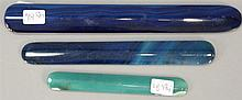 Group of three hardstone busks, two blue and one teal color. lg. 8 1/4 in., lg. 6 3/4 in., and lg. 4 3/4 in.