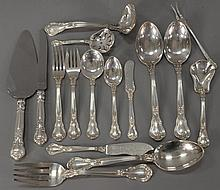 Gorham Chantilly sterling silver flatware setting to include 10 dinner forks, 10 luncheon forks, 16 teaspoons, 8 soupspoons, 8 butte...