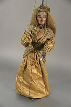 Continental polychrome wood puppet of a woman with hair and a crown.Rtotal ht. 48 in.; doll ht. 30 in.