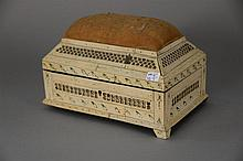 19th Century Russian Prisoner of War bone veneered sewing box with pin cushion. ht. 6 in.; lg. 9 in.