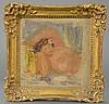 PIERRE AUGUSTE RENOIR (1841-1919)  Endormie Femme Au Buste Nu  oil on artist board  signed lower right Renoir  4 1/4