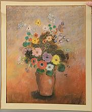 CIRCLE OF ODILON REDON (1840-1916) Still Life of Flowers in a Vase  pastel on paper  unsigned  22