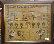 Needlework sampler, Ann Magdalen Yates, her work with several people, houses and trees including a cherry picker, silk and linen, pr...