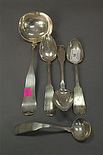 Group of coin silver spoons and ladle, 9.4 t oz.