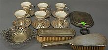 Group of sterling to include Tiffany brush and mirror, cups and saucers with Lenox inserts, small bowl, and a brush, 8.5 weighable t...