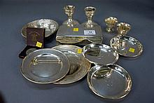 Sterling silver lot to include small plates and bowls, box, two short sticks, and coin, 19.5 t oz. weighable silver.