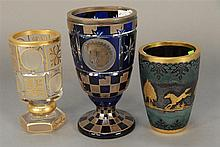 Three Moser type vases, one etched with silver overlay, hts. 5in., 6in., & 8in.