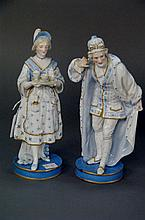 Pair of Chelsea figures, a man listening and a woman carrying a tea set.