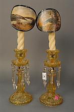 Pair of amber pressed glass candlesticks, stick ht. 12in.; overall ht. 20in.