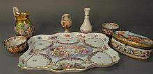 Seven piece Capo-di-monte lot with tray, oval box, pitcher (repaired handle), vases, and cups, tray: lg. 15in.; wd. 12in.
