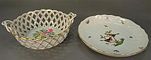 Two Herend pieces including basket weave bowl dia. 9in. and large plate dia. 11in. with bowls