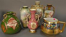 Group of six painted vases and pitchers to include Pickard pitcher and vase enameled with fish, hts. 5 1/2in. - 11 1/2in.