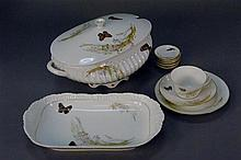 Haviland Limoges butterfly china set with serving pieces, 33 total pieces.