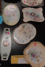 Eight painted dresser trays and hand painted items, lg. 10in. - 14in.