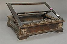 Continental 18th century book stand having pewter inlaid corners and sides with adjustable tilting book rest, ht. 4 1/2in.; wd. 17 1...