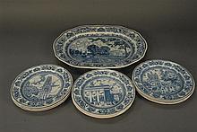 Thirteen Wedgwood Yale plates and large platter.