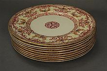 Set of nine Royal Worcester service plates, dia. 11in.