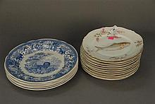 Two sets of plates to include six Spode Blue Room dia. 10 1/2in. and eleven Carlsbad fish plates dia. 8 1/2in.