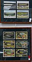 Two piece framed lot; six linen and chrome postcards with aerial views of the Yale Bowl 1920-1950 and four color linen postcard view...
