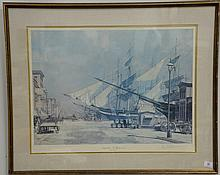 John Stobart (1930) print, South Street, New York in 1874, pencil signed lower right John Stobart. 22 3/4