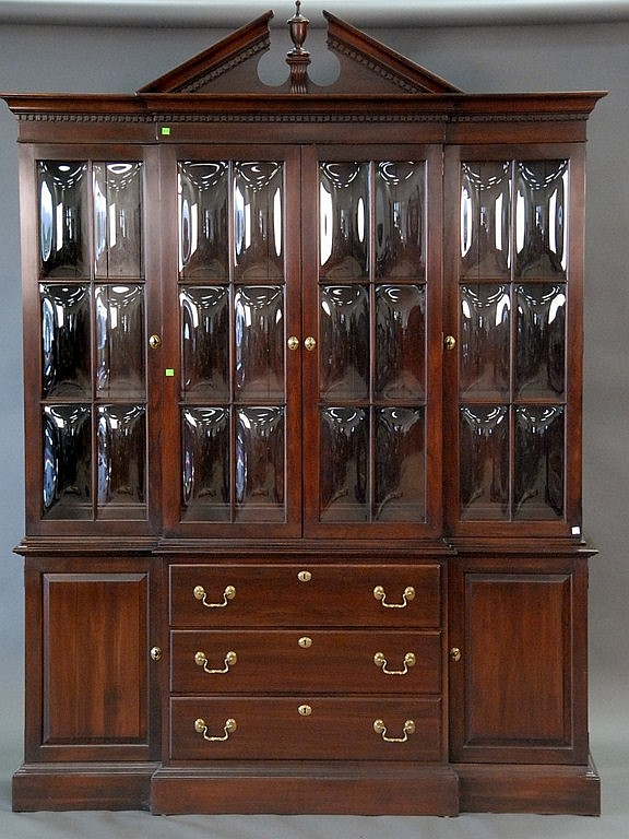 "Ethan Allen breakfront with four bubble glass doors, glass shelves, and silverware drawer in two parts, total ht. 89"", wd. 66"", dp. ..."