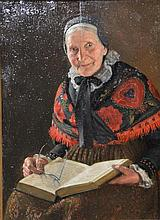 Richard Nitsch (1866-1945) oil on board woman reading a book, signed top left R. Nitsch. (7 1/2