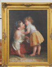 Haley, oil on canvas of young girl with mother signed lower right Haley, 20th century, 40