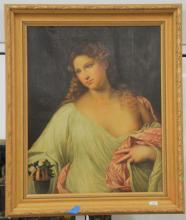 Oil on canvas, unsigned portrait of a woman in a white robe with a pink shawl holding flowers, 19th century, restored and relined 32...