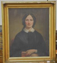 Framed Victorian oil on canvas bust of a woman holding a book, 30