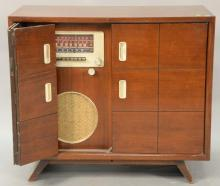 Vintage mahogany stereo cabinet Garrard record player and short wave radio, ht. 32