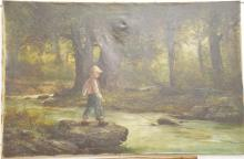 H. Hardwick 19th century oil on canvas of young boy fishing signed lower left H. H. Hardwick, 26