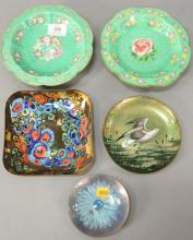 Group of five enameled dishes including seagull plate signed indistinctly, pair of Chinese enameled footed dishes. dia. 4