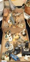 Two tray lots including carved shoe birds, Richard Morgan, L. Harvey quill box, miniature birds, etc.