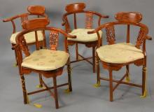 Set of four rosewood Chinese Oriental style armchairs