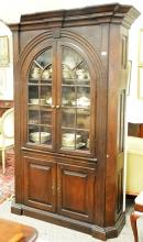 Custom large oak china cabinet with two glass doors over two doors ht. 84
