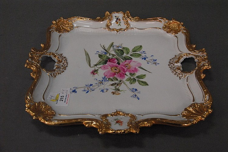 Meissen square platter with hand painted flowers and gilt trim marked with crossed swords. dia. 16 1/2in.