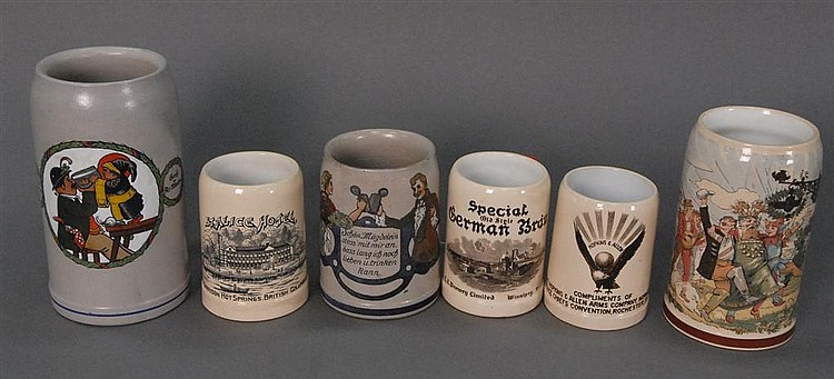 Six advertising steins with open tops, three signed Mettlach, hts. 4