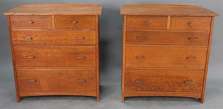 "Pair of signed Stickley Mission Oak chests, two over three drawers, one marked ""The work of LJG Stickley"", ht. 38"" wd 38"" dp. 18""."