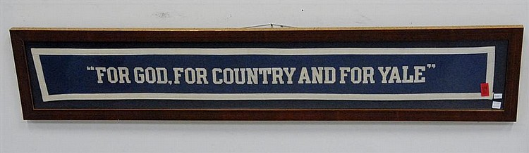 "Three piece lot; Yale banner, ""For God, For Country and For Yale"", circa 1950, framed, 5 1/2"" x 45 1/2"", Yale 1929 banner, and Yale ..."