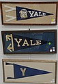 Five piece framed lot; Yale pennant circa 1940-1950, Yale circa 1905-1910, Yale pennant 1915-1920, Yale pennant with bulldog circa 1...