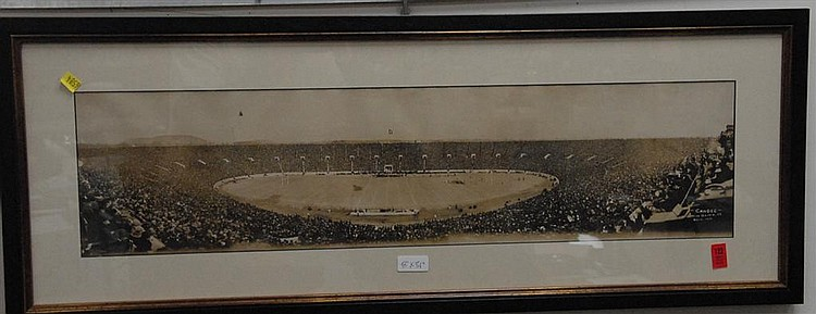 """Panoramic view of Yale Bowl Candee New Haven, CT 1914, 8"""" x 31"""" document 12"""" x 12 1/2""""."""