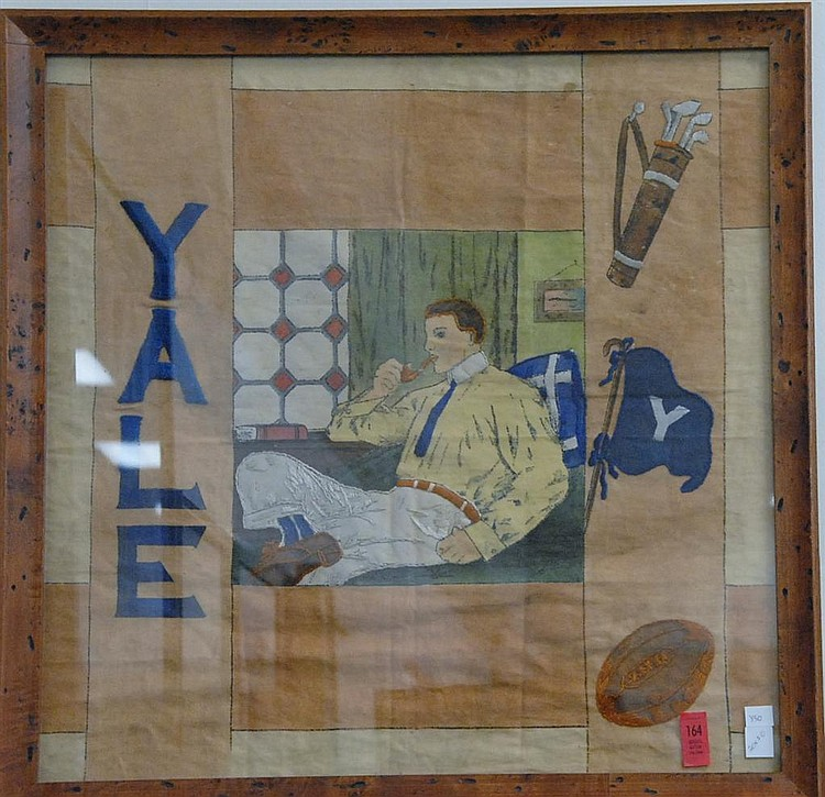 Framed hand sewn tapestry depicting elements of Yale Life, probably student, friend, or family work, circa 1920-1930.