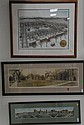 Three framed pieces; panoramic view of  The New Haven Green 1919, original panoramic photo of The Old Campus dated 1909 and The Bric...