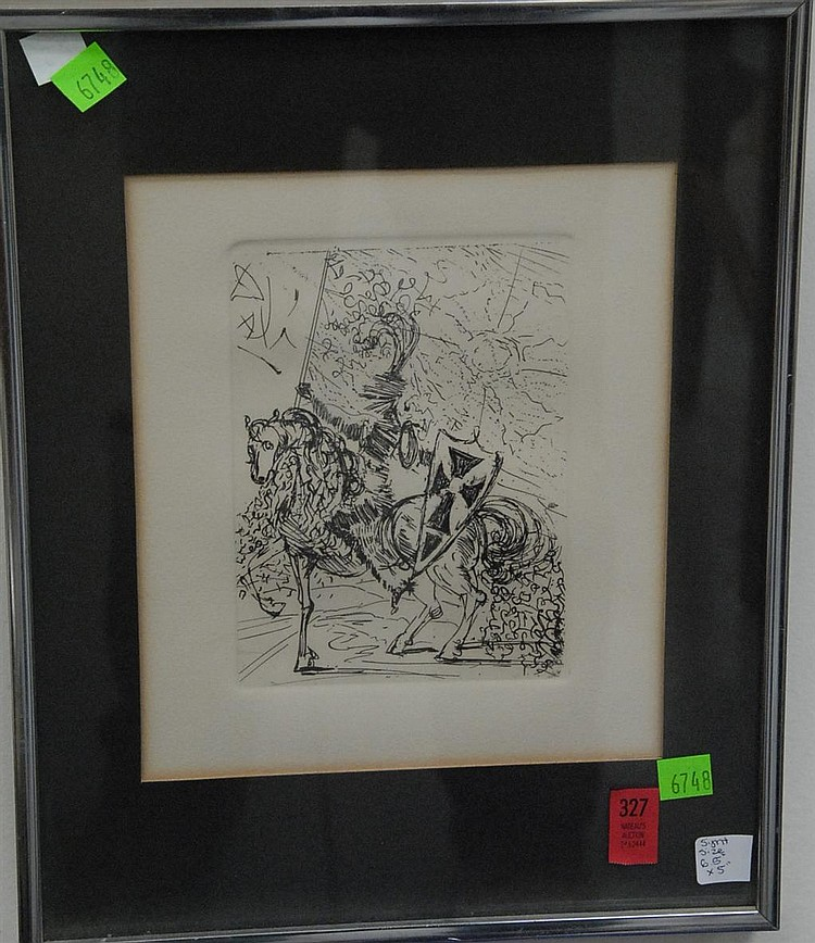 "Salvador Dali (1904-1989) etching ""El Cid"" signed upper left in plate Dali, label on back, 6 1/2"" x 5""."
