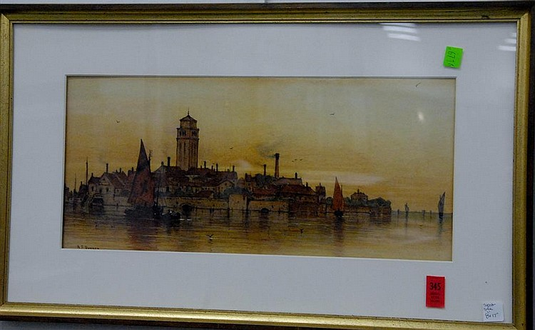 "Andrew Fisher Bunner (1841-1897) watercolor of city's edge signed lower left A.F. Bunner, 8"" x 17""."
