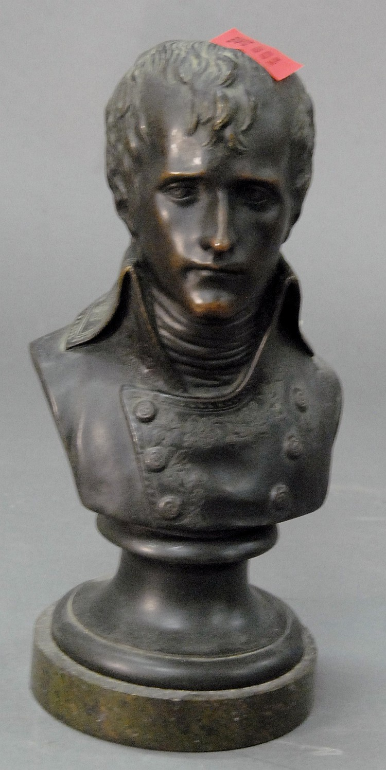 Black bronze bust of Napoleon.