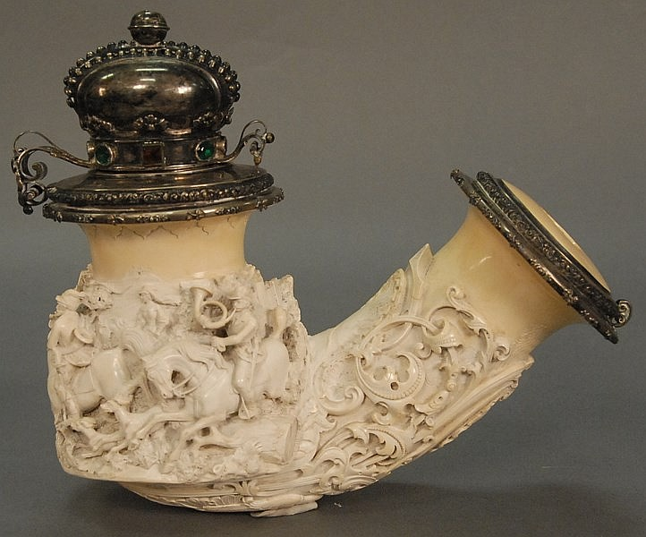 Large Meerschaum pipe having a silver crown top surrounded by colored stones. The Meerschaum pipe is intricately carved with three d...
